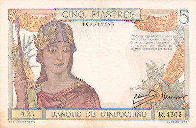 5 Piastres Very Fine Crispy Banknote From French Indochina 1936!pick-55
