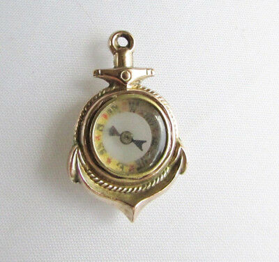 Old antique 9ct gold anchor fob pendant compass Damaged