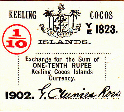 1/10 Rupee Vf++ Banknote From Keeling Cocos Islands 1902!pick-S123