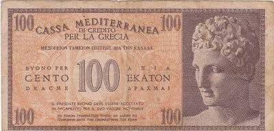 100 Drachme Vf-Fine Banknote From Italian Occupied Greece 1941!pick-M4