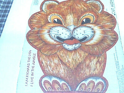"Vintage 70s fabric pillow panel LION /"" Richard /"" cut n sew stuffed animal"