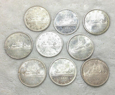 Canada - (9) silver dollars - Free Shipping