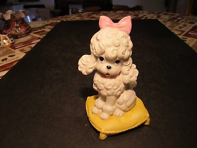 Ceramic Poodle Dog Sittling On Pillow Figurine Pink Bow & Collar