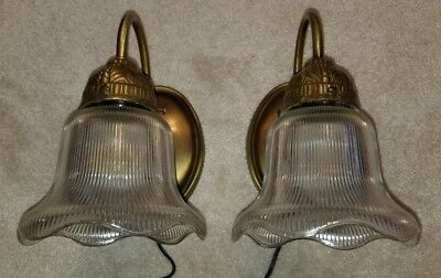 2 Vintage Antique Brass Finish Holophane Glass Shade Wall Fixture Sconces Lights