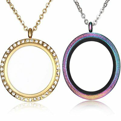 Stainless Steel 30mm Living Memory Floating Charm Glass Locket Pendant Necklace