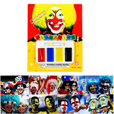 Face Painting Paint Kit Set Halloween Goth Football Game Fans Palette 4 Colors