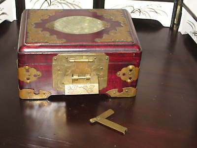Vintage Chinese Wooden Trinket Box with Lock, Carved Jade and Brass!  L@@k!