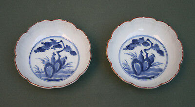 Pair Antique Japanese Porcelain Blue & White Bowls Arita Kakiemon Quail