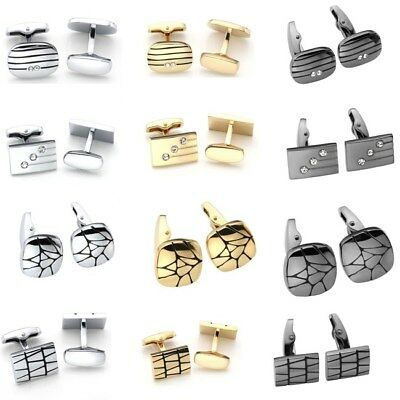 Pair Stainless Steel Square Rectangle Oval Wedding Business Cufflinks Gifts DIY