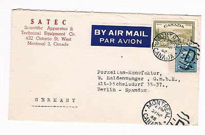 Canada  Cover 1949 from Ontario to Germany AirMAil Fancy Cancel  (B3/11)
