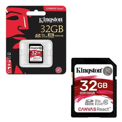 32GB Kingston Canvas React SDHC SD Memory Card Class 10 UHS-I U3 100MB/s 32GB