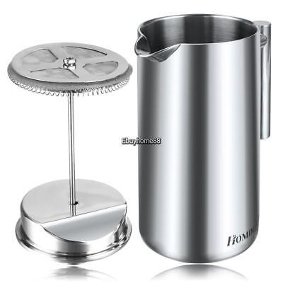 French Press 34 Oz Coffee Maker Double Wall Stainless Steel Camping Trips 1000ml