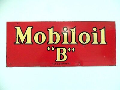 Vintage 1920s Sign Mobil Oil Pre Gargoyle Gas Station Can Oiler Garage Display