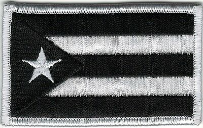 Puerto Rico Urban White Black Flag Patch VELCRO® BRAND Hook Fastener Compatible