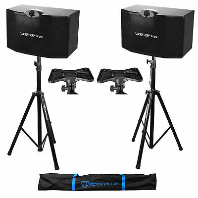 "(2) Vocopro SV-500 3-Way 10"" Karaoke Speakers + Tripod Stands SV500"