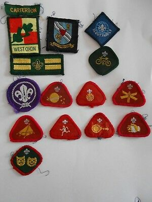 lot of 15  boy scouts  cloth patches carterton west oxon ect  lot A