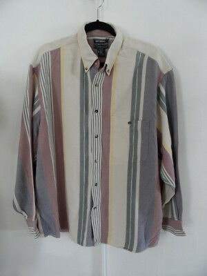 VINTAGE 1990'S GRUNGE Striped Flannel Shirt Top Over-Sized MEN'S Size 2XL New