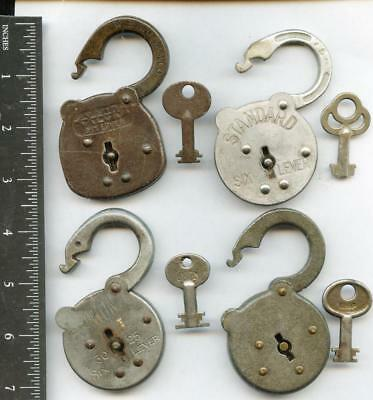 Antique Vintage Padlock Lock W/ Key Keys Lot 4 Collection Gift Store All Working