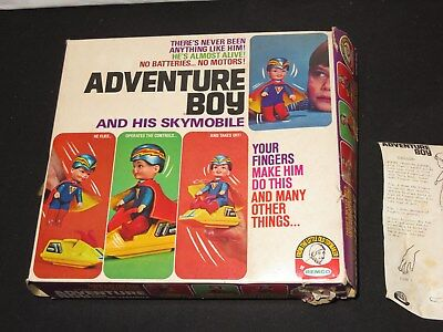 1970 Remco Finger Ding Adventure Boy And His Skymobile New In Box