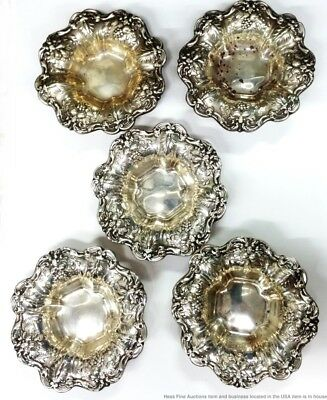 Reed Barton Francis I Sterling Silver Vintage 5Pc Nut Butter Pat Trays Cups