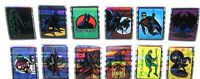 1994 Batman Forever Vending Machine Complete Set Of 12 Prism Stickers Mint Rare