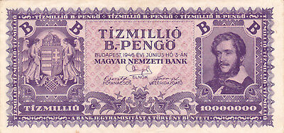 10 Million Billion Pengo Vf From 1946!2Nd Highest Denomination Note On The World