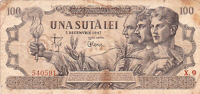100 Lei Vg  Banknote From Romania 1947 !pick-65!