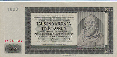 1000 Kronen Extra Fine Crispy Banknote From Bohemia 1942!nazi Issued!pick-14!