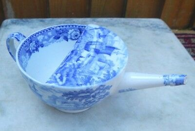c.1840~1868 ANTIQUE BLUE & WHITE WEDGWOOD PEARLWARE INVALIDS FEEDING CUP