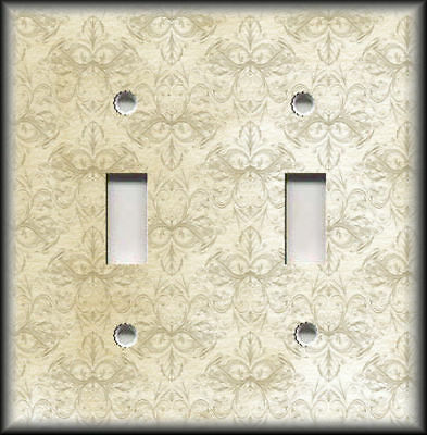 Metal Light Switch Plate Cover - Vintage Art Nouveau Cream Tan Home Decor