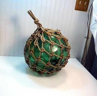 """Signed Vintage Japanese Blown Glass Fishing Float Buoy Old Roped Net 40"""" Around"""