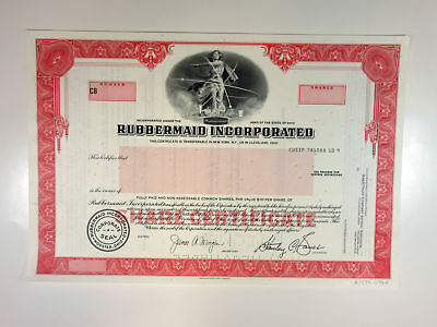 OH. Rubbermaid Inc. 1960-70s Specimen Stock Certificate Odd Shares XF ABN Red
