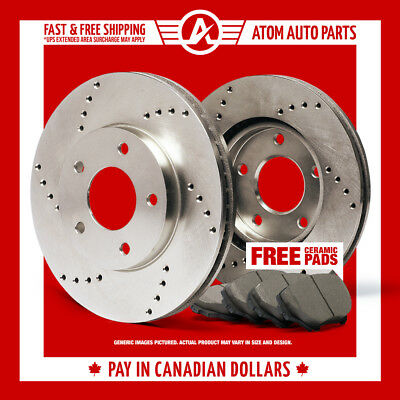 2011 2012 Ford Taurus (See Desc.) (Cross Drilled) Rotors & Ceramic Pads Front