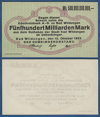 Bad WILDUNGEN 500 Milliarden Mark 12.10.1923 KASSENFRISCH