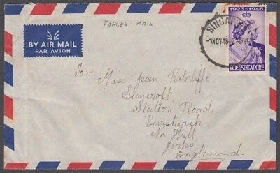 "Singapore 1948 ""Forces"" Airmail Cover To England (Id:675/d51736)"