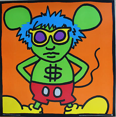 Keith Haring Silkscreen / Serigraph Andy Mouse $ Sign Warhol 1986 /1991 Estate