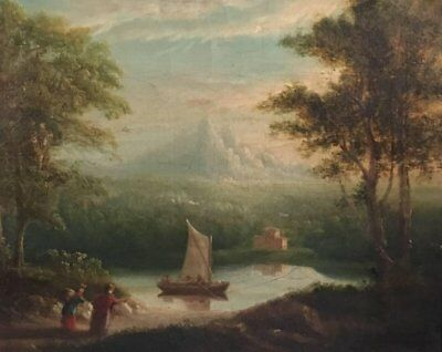 Travellers In Arcadian Landscape - Fine 1830's 'grand Tour' Oil Painting/ Framed