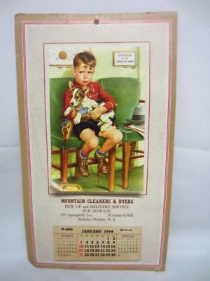 Mountain Cleaners & Dyers Cardboard 1954 Wall Calendar 'Anxious Moments'