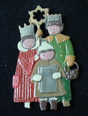 Kuhn Zinn Pewter CAROLERS Christmas Ornament Hand Painted Enamel Germany
