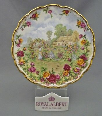 Royal Albert England Old Country Roses Bone China Gold 25th Anniversary Plate