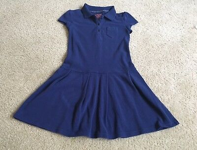 Cat & Jack Girls Size Small (6-6X) Navy Blue Uniform Polo Dress