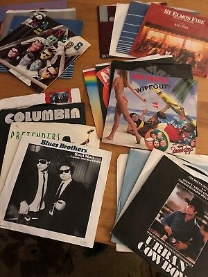 """Lot of 20~45 rpm 7"""" records~1980s~with jukebox strips all VG+ to EX. Some PicSle"""