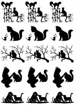 "Cat Friends Mouse Bird Dog 5"" X 3-1/2"" Card Black Fused Glass Decals 18CC984"