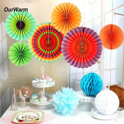 12 PCS Paper Fan Mexican Fiesta Hanging Decoration Mexican Spanish Party Supply