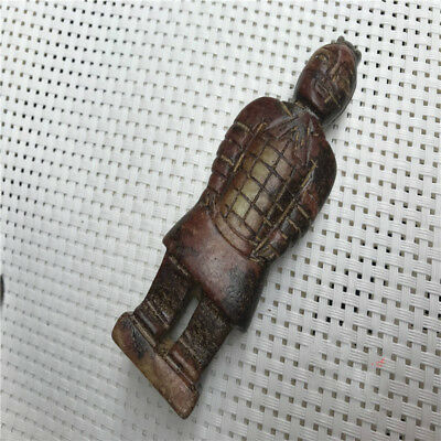 "4.3"" Chinese Old Ancient jade stone carving pendant jade Terracotta Warriors"