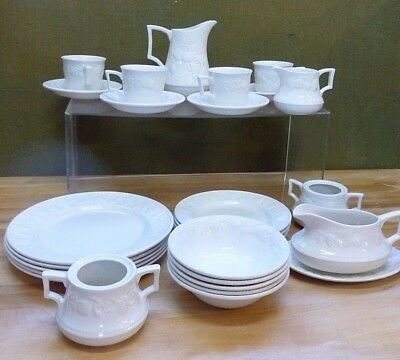 Bundle of White China Embossed Fruit Pattern BHS Lincoln Tableware Set #Y384