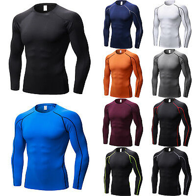Men's Compression Skin Fit Base Layer Top Long Sleeve Fitness Gym Tight T-Shirt