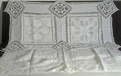ANTIQUE HAND MADE LINEN TABLECLOTH w/ BOBBIN LACE INSERTIONS TT737