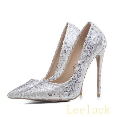 Womens Bridal Sequins Bling Sexy High Stiletto Heel Pointy Toe Slip on Pump Shoe