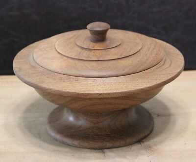 Vintage Solid Wood Hand Turned Oak Pedestal Bowl with Lid Harold Peterson